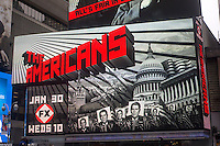 """Advertising for the Fox television program """"The Americans"""" in Times Square on Monday, January 21, 2013. (© Richard B. Levine)"""