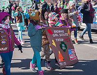 "Local Girl Scout troops march in the Sunnyside, Queens St. Patrick's Parade on March 5, 2017. Billed as ""St. Pat's For All"" the festive event started as an alternative to the New York parade, and organizers have endeavored to make the parade inclusive allowing gays and lesbians to march who were banned from the New York parade. (© Richard B. Levine)"