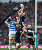 George Kruis of England wins the ball in the air. Old Mutual Wealth Series International match between England and Argentina on November 26, 2016 at Twickenham Stadium in London, England. Photo by: Patrick Khachfe / Onside Images