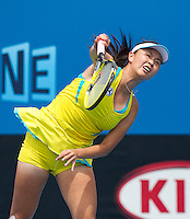 SHUAI PENG (CHN) against IVETA BENESOVA (CZE) in the Second round of the women's Singles. Iveta Benesova beat Shuai Peng  6-2 6-4 ..18/01/2012, 18th January 2012, 18.01.2012..The Australian Open, Melbourne Park, Melbourne,Victoria, Australia.@AMN IMAGES, Frey, Advantage Media Network, 30, Cleveland Street, London, W1T 4JD .Tel - +44 208 947 0100..email - mfrey@advantagemedianet.com..www.amnimages.photoshelter.com.