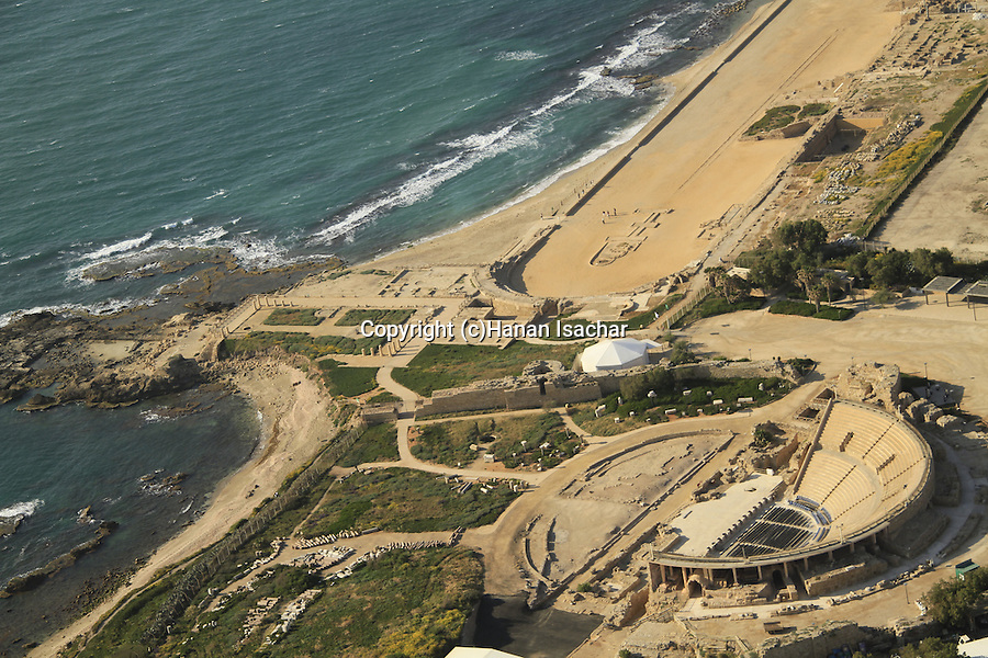 Israel, Sharon region, an aerial view of Caesarea Maritama