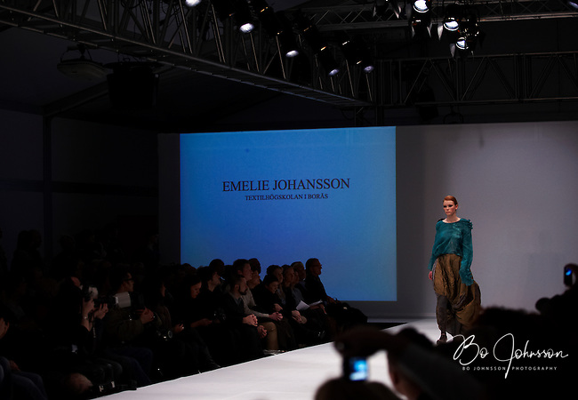 Model on the catwalk wearing creation by Emelie Johansson (Textilhogskolan i Boras). &quot;Designers Nest Show and Award&quot; at the fashion fair &quot;CPH Vision&quot; in Oksnehallen. Copenhagen Fashion Week.<br /> February 2009.<br /> Only for editorial use.
