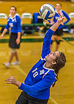 1 November 2015: Yeshiva University Maccabee Middle Blocker Marissa Almoslino, a Junior from Seattle, WA, warms up prior to a match against the Saint Joseph College Bears at SUNY Old Westbury in Old Westbury, NY. The Bears shut out the Maccabees 3-0 in NCAA women's volleyball, Skyline Conference play. Mandatory Credit: Ed Wolfstein Photo *** RAW (NEF) Image File Available ***