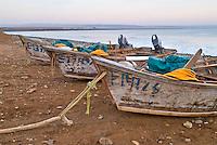 Small fishing boats pulled ashore, Punto San Jacinto, Baja, Mexico