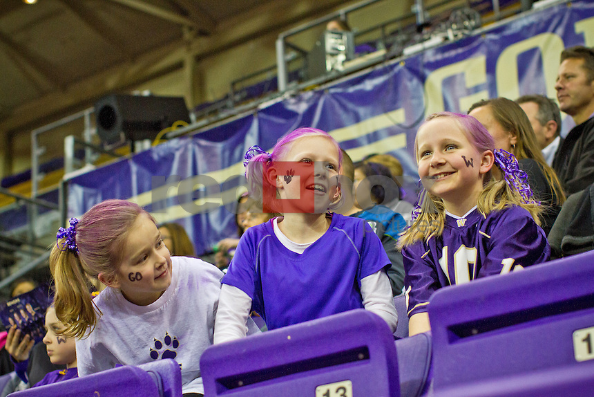 Young fans..Washington Huskies gymnastics vs. the UCLA Bruins at Alaska Airlines Arena at Hec Edmundson Pavilion in Seattle on Friday, January 27, 2012. (Photo by Dan DeLong/Red Box Pictures)