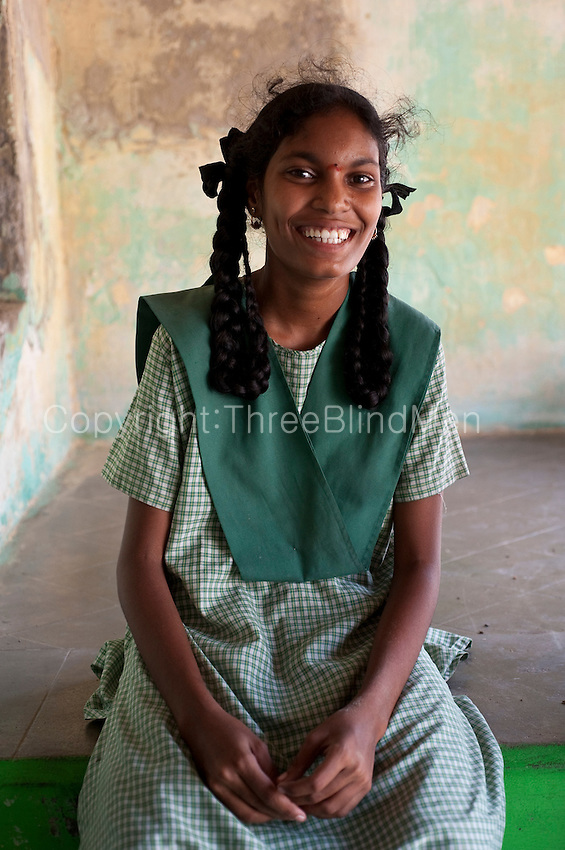 Tarangambadi India  city photos : School girl seated on thinnai of a home in Tarangambadi. Tarangambadi ...