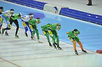 SCHAATSEN: HEERENVEEN: 29-12-2013, IJsstadion Thialf, KPN NK Mass start, winnaar Arjan Stroetinga, ©foto Martin de Jong