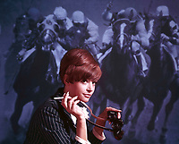 Parliament cigarette print ad, front projection horse racing, 1966. Photo by John G. ZImmerman.