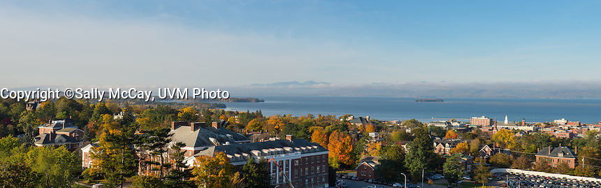 Panorama view of Waterman Building and Lake Champlain, Fall UVM Campus