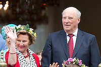 TRONDHEIM, NORWAY - JUNE 23:  King Harald, and Queen Sonja of Norway, attend a Garden Party at the Royal Residence, Stiftsgarden,  on a visit to Trondheim, during the King and Queen of Norway's Silver Jubilee Tour, on June 23, 2016 in Trondheim, Norway.