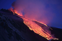 Lava Flowing into Vale del Bove on Mount Etna Volcano following a paroxysmal eruption, Italy, 2012.
