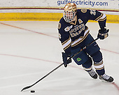 Stephen Johns (ND - 28) - The Boston College Eagles defeated the visiting University of Notre Dame Fighting Irish 4-2 to tie their Hockey East quarterfinal matchup at one game each on Saturday, March 15, 2014, at Kelley Rink in Conte Forum in Chestnut Hill, Massachusetts.