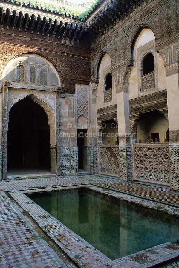 Fez, Morocco - Courtyard of Es-Sahrij Medersa, built 1321, in need of preservation.