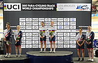 Picture by Simon Wilkinson/SWpix.com - 04/03/2017 - Cycling 2017 UCI Para-Cycling Track World Championships, Velosports Centre, Los Angeles USA -Gold Silver Bronze for GB - Sophie Thornhill Corrine Hall, Aileen McGlynn Louise Haston, Alison Patrick and Helen Scott