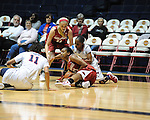 "Arkansas' Calli Berna (11), Arkansas' Dominique Robinson (21), and Ole Miss' Kenyotta Jenkins (11) and Valencia McFarland (3) go for the ball at the C.M. ""Tad"" Smith Coliseum in Oxford, Miss. on Thursday, January 12, 2012."