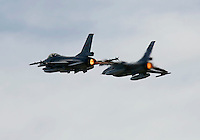 To Norwegian Lockheed Martin F-16 Fighting Falcon  performing a display at Rygge Airshow. Norway