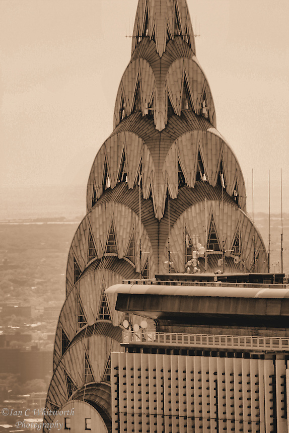 Looking at the Chrysler building roof from the Top of the Rock in NYC