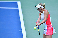 NEW YORK, USA - SEPT 09, Caroline Wozniacki of Denmark returns a shot against Angelique Kerber of Germany during their Women's Singles Semifinal Match of the 2016 US Open at the USTA Billie Jean King National Tennis Center on September 8, 2016 in New York.  photo by VIEWpress
