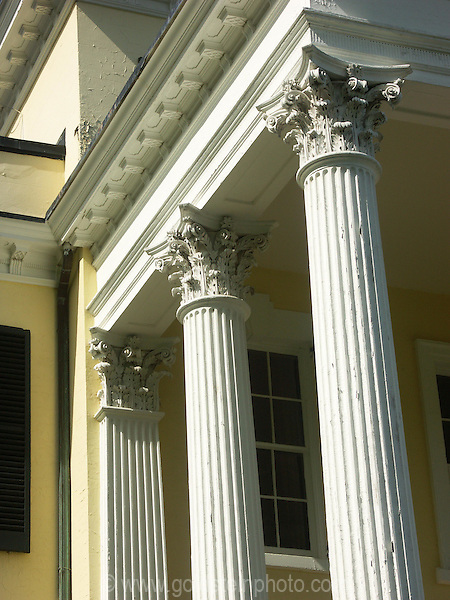 Columns, Oatlands Plantation. Architectural details of homes and other buildings in Loudoun County area of Virginia.