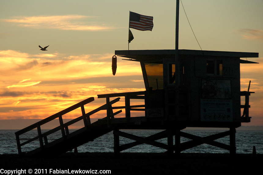 Lifeguard tower #20 in Santa Monica amid the sunset on Saturday, October 1, 2011.