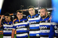Adam Hastings, Zach Mercer, Matt Banahan and Tom Dunn look on in a post-match huddle. Aviva Premiership match, between Bath Rugby and Bristol Rugby on November 18, 2016 at the Recreation Ground in Bath, England. Photo by: Patrick Khachfe / Onside Images