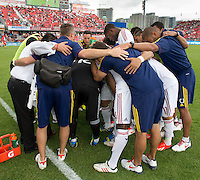 29 June 2013: Real Salt Lake team huddle just before the start of an MLS game between Real Salt Lake and Toronto FC at BMO Field in Toronto, Ontario Canada.<br /> Real Salt Lake won 1-0.