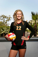 10 August 2010:  #22 Katie Fuller OH/OPP  on the Pac-10 NCAA College Women's Volleyball team for the USC Trojans Women of Troy photographed at the Galen Center on Campus in Southern California. .Images are for Personal use only.  No Model Release, No Property Release, No Commercial 3rd Party use. .Photo Credit should read: &copy;2010ShellyCastellano.com