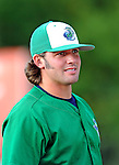 25 August 2008: Vermont Lake Monsters' pitcher Austin Garrett awaits the start of play prior to a game against the Hudson Valley Renegades at historic Centennial Field in Burlington, Vermont. The Lake Monsters defeated the Renegades 8-5 in the second game of their three-game series in Vermont...Mandatory Credit: Ed Wolfstein Photo