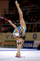 October 21, 2001; Madrid, Spain:  ALINA KABAEVA of Russia performs with clubs at 2001 World Championships at Madrid.