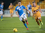 St Johnstone U20 v Motherwell U20&hellip;03.10.16.. McDiarmid Park   SPFL Development League<br />Aaron Comrie pulls away from Dylan Falconer<br />Picture by Graeme Hart.<br />Copyright Perthshire Picture Agency<br />Tel: 01738 623350  Mobile: 07990 594431