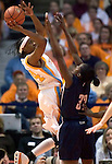 KNOXVILLE, TN--07 JANUARY 2005- 010706JS07-<br /> Tennessee's Alexis Hornbuckle puts up a hot over UConn's Barbara Turner during the first half of their game Saturday at the Thompson-Boling Arena in Knoxville, Tennessee. <br />  --Jim Shannon Republican American--UConn; Tennessee; Thompson-Boling Arena; Knoxville; Tennessee are CQ