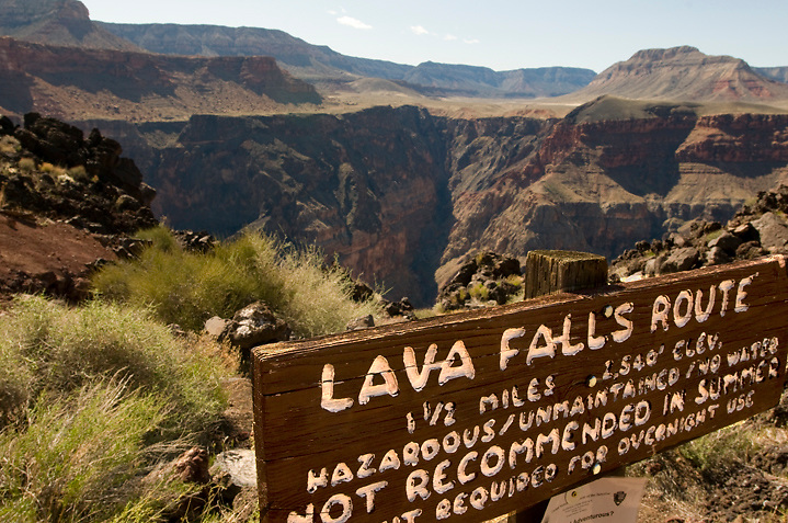 The trailhead (now removed) for the Lava Falls Route overlooks the void you're about to drop in to, with Prospect Canyon crosscanyon. Although short, this route is not to be taken lightly; it's extreme terrain and incredible heat is a notorious killer.