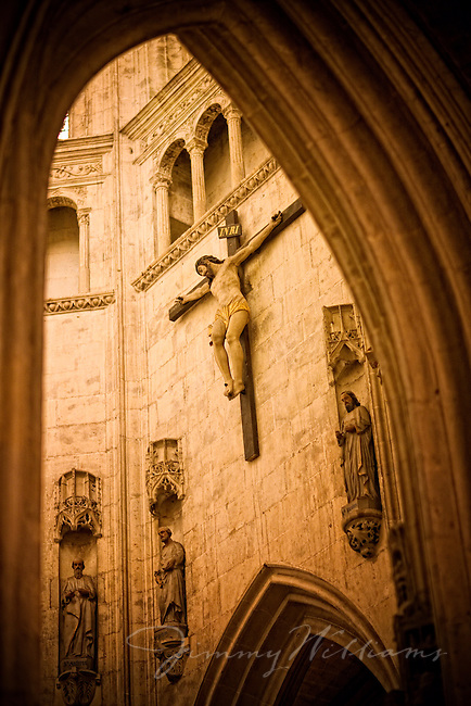 crucifix in church france a large crucifix hangs on the inside wall of ...