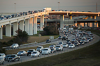 """Afternoon rush hour traffic fills the """"Spaghetti Bowl"""" Mopac exchange in northwest Austin, connects Highway 183, Mopac Loop 1 and Loop 360, the Capital of Texas Highway."""