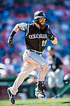 28 August 2016: Colorado Rockies outfielder Charlie Blackmon in action against the Washington Nationals at Nationals Park in Washington, DC. The Rockies defeated the Nationals 5-3 to take the rubber match of their 3-game series. Mandatory Credit: Ed Wolfstein Photo *** RAW (NEF) Image File Available ***