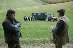 Game bird shoot St Claire's Estate, Hampshire. England 2007. Loaders wait for the Guns.