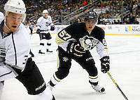 David Perron #57 of the Pittsburgh Penguins in action against the Los Angeles Kings during the game at Consol Energy Center in Pittsburgh, Pennsylvania on December 11, 2015. (Photo by Jared Wickerham / DKPS)