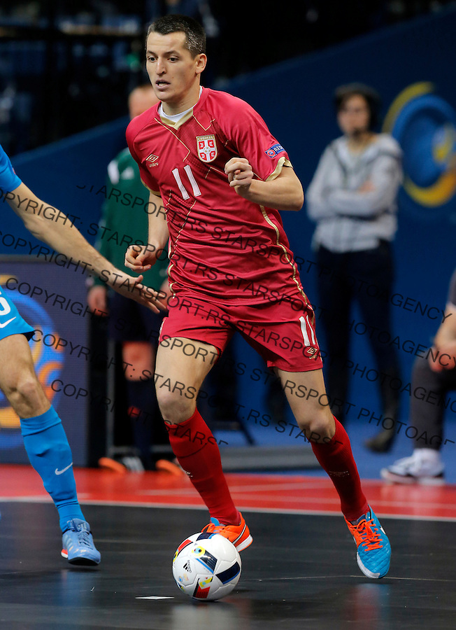 Milos Simic UEFA Euro 2016 Futsal Evropsko Prvenstvo, Srbija - Slovenija 2.2.1016. Februar 2. 2016. (credit image & photo: Pedja Milosavljevic / STARSPORT)