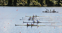 Hamilton, NEW ZEALAND.  GV's, General view of the starting pontoon, with a repechage of the lightweight men's pair in progress. Tuesday - 02.11.2010, [Mandatory Credit Peter Spurrier:Intersport Images].