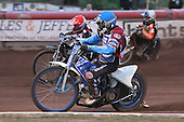 Heat 10: Lee Richardson (red), Kauko Nieminen (blue) and Ludvig Lindgren - Lakeside Hammers vs Wolverhampton Wolves - Elite League Speedway at Arena Essex Raceway - 16/05/11 - MANDATORY CREDIT: Gavin Ellis/TGSPHOTO - Self billing applies where appropriate - Tel: 0845 094 6026