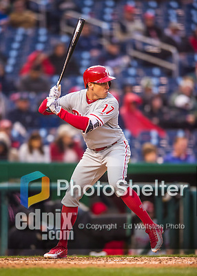 28 April 2016: Philadelphia Phillies outfielder Peter Bourjos at bat against the Washington Nationals at Nationals Park in Washington, DC. The Phillies shut out the Nationals 3-0 to sweep their mid-week, 3-game series. Mandatory Credit: Ed Wolfstein Photo *** RAW (NEF) Image File Available ***
