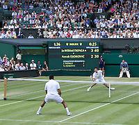 NOVAK DJOKOVIC (SRB) (2) against JO-WILFRED TSONGA (FRA) (12) in the Semi-Finals of the Gentlemen's Singles. Novak Djokovic beat Jo-Wilfred Tsonga 7-6 6-2 6-7 6-3..Tennis - Grand Slam - Wimbledon - AELTC - London- Day 11 - Fri July 1st 2011..© AMN Images, Barry House, 20-22 Worple Road, London, SW19 4DH, UK..+44 208 947 0100.www.amnimages.photoshelter.com.www.advantagemedianetwork.com.