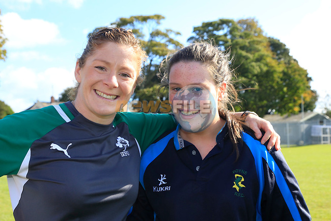 Grace Davitt and Susie Keogh at the Boyne RFC training.<br /> Picture: Fran Caffrey www.newsfile.ie