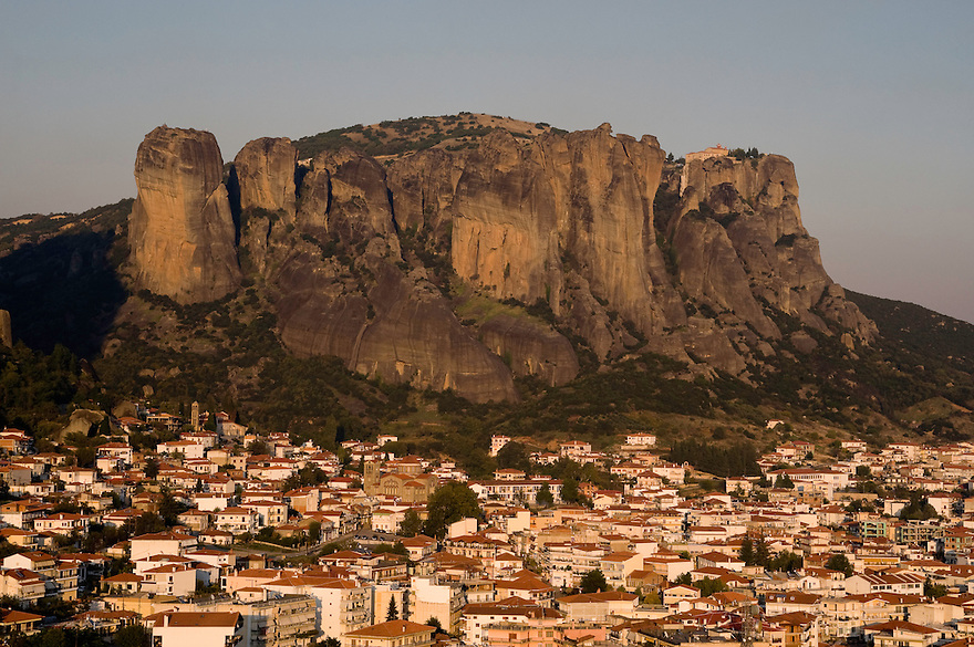 Greece, Meteora, Kalampaka Town in sunset