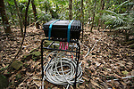 Scientific instruments to measure many different elements: carbon dioxide exhaled; tree's water intake and flow; growth rate.