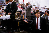 "Talca, Chile.September 23, 1988..General Augusto Pinochet at a ""yes"" vote rally to support him in a plebiscite to remain office...In 1988, General Pinochet ordered a plebiscite vote asking Chilean citizens whether he should continue in office. It produced a decisive ""no"" vote and the following year he lost the first presidential election in 19 years. However, under a constitution crafted by his advisors, he remained as army commander until 1998. Pinochet continued to wield enormous power until his arrest in London on human rights charges in October 1998."
