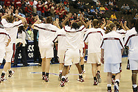 18 March 2006: Kristen Newlin, Morgan Clyburn, Candice Wiggins, Brooke Smith, Clare Bodensteiner, Eziamaka Okafor and the team during Stanford's 72-45 win over Southeast Missouri State in the first round of the NCAA Women's Basketball championships at the Pepsi Center in Denver, CO.
