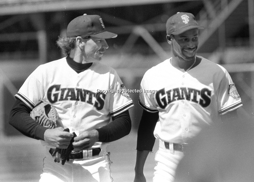 San Francisco Giants All-Stars, Bob Brenly and Chili Davis, before the 1984 game. (photo/Ron Riesterer)