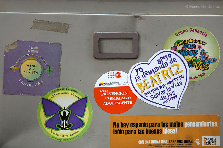"Stickers at ""La Casa de Todas"" in San Salvador, El Salvador on June 10, 2015. Abortion in El Salvador is illegal. The law formerly permitted an abortion to be performed under some limited circumstances, but, in 1998, all exceptions were removed when a new abortion law went into effect. Photo by Bénédicte Desrus"