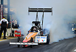 May 19, 2012; Topeka, KS, USA: NHRA top fuel dragster driver Clay Millican during qualifying for the Summer Nationals at Heartland Park Topeka. Mandatory Credit: Mark J. Rebilas-